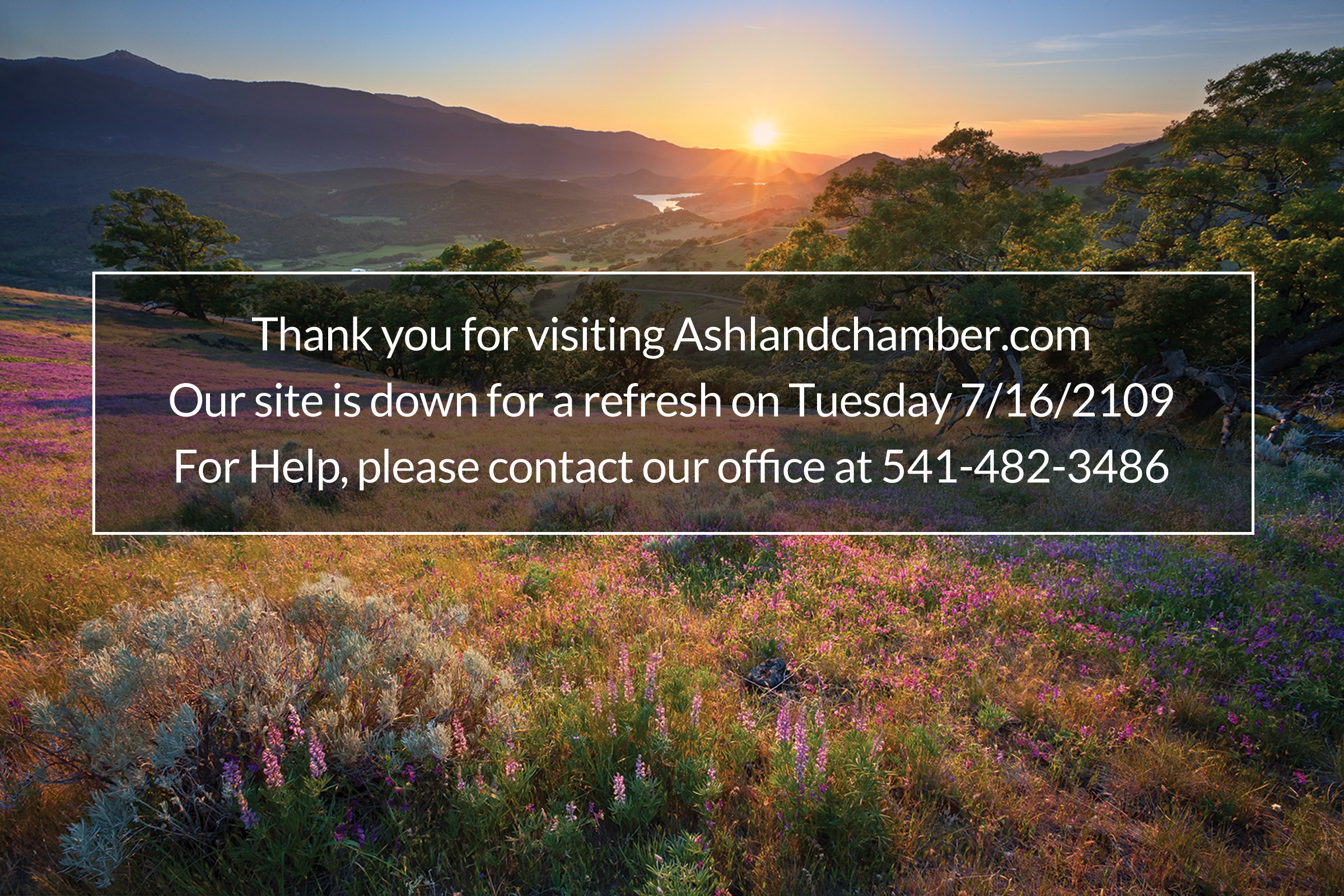 Thank you for visiting Ashlandchamber.com. Our site is down for a refresh on Tuesday 7/16/2109. For Help, please contact our office at 541-482-3486